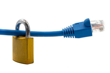 Network cable with padlock on white background