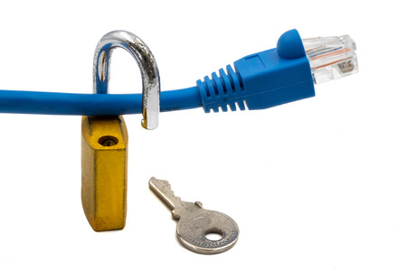 Network cable with padlock and key on white background