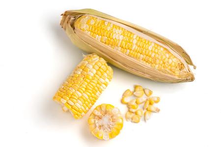 Fresh sweet corn on a white background