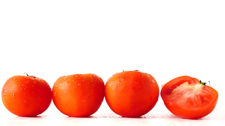 Close up of Fresh tomatoes on white background. copy space Stock Photo