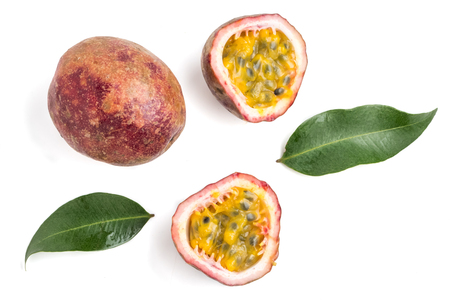 Close up of Passion fruits on white background Banque d'images