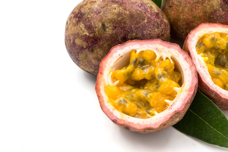 Close up of Passion fruits on white background Archivio Fotografico