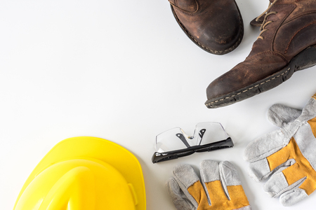Construction site safety. Personal protective equipment on white background. Free space for text Stock fotó