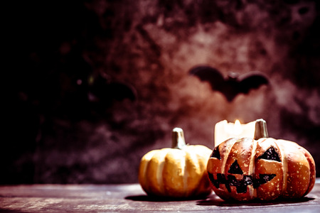 Halloween pumpkin with candlelight on dark background Stock fotó - 109206713