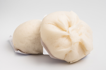 Steamed stuff bun on white background
