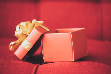 Close up of a gift box on red sofa.