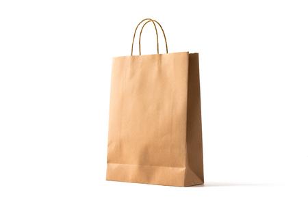 Brązowa papierowa torba na zakupy na białym Zdjęcie Seryjne