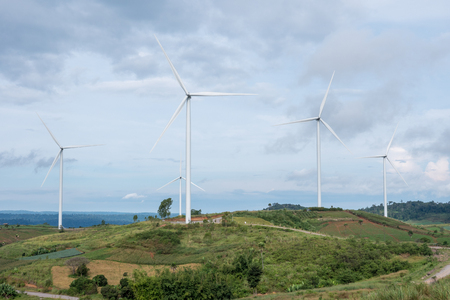 Electrical Eco power maker wind turbine in Thailand. Stock Photo