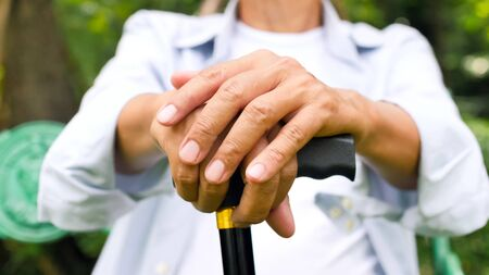 Male hands holding walking stick in the park.