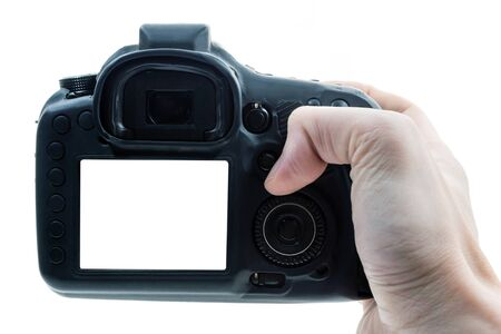 Close up of male hand press on button of a black digital camera.