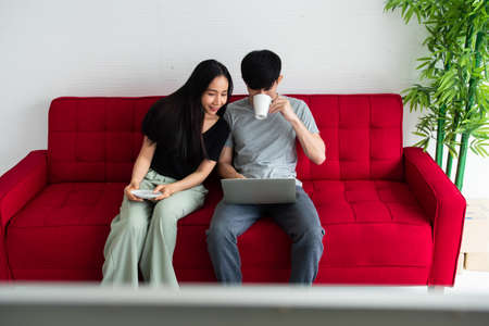 Happy Asian couple spending time together on sofa at home.