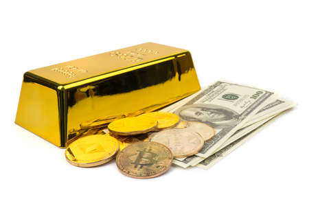 Golden Bitcoins of new digital money, US dollars and gold bars on white background