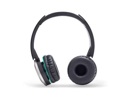 Black headphone isolated on white Foto de archivo