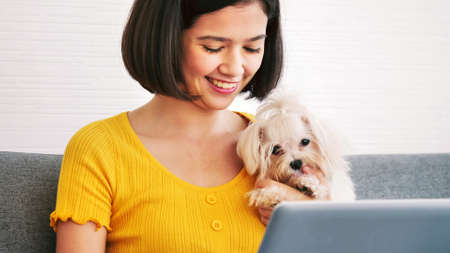 Asian woman working on a laptop computer and shihtzu dog sitting together on a sofa at home