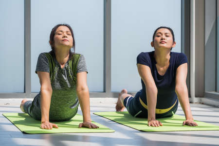 Two asian women doing yoga together at a gym.