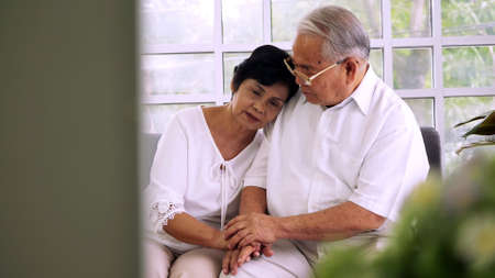 Asian elderly couple spending time together at home.