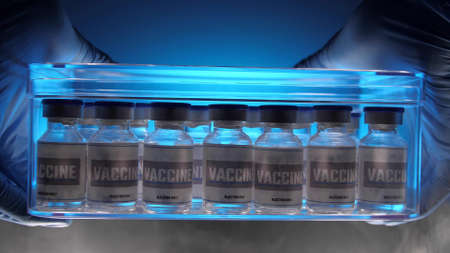 Glass vials for vaccine in laboratory. Group of vaccine bottles. Medicine in ampoules. Stock fotó