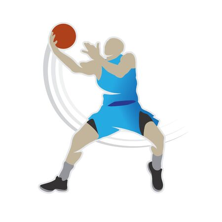 Basketball player shape silhouette vector set action pose