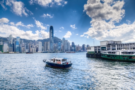 Victoria Harbour Near Tsim Sha Tsui in Hong Kong With Financial District in Backgound
