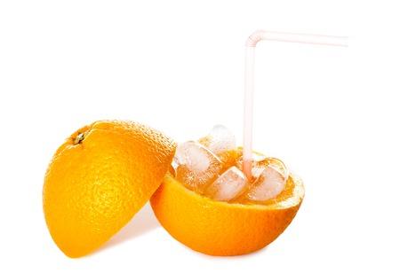 Refreshing Pure Iced Orange Juice Isolated on White Banco de Imagens