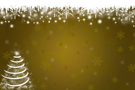 christmas bubbles: Snowflakes and Christmas Tree Background in Gold