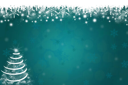Snowflakes and Christmas Tree Background in Blue photo