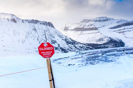 danger: An avalanche danger sign at Lake Louise Ski Resort