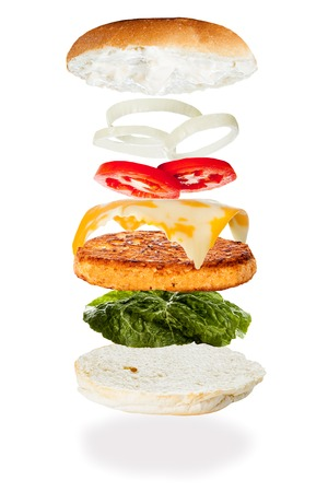 All the ingredients of a salmon burger falling into place  photo