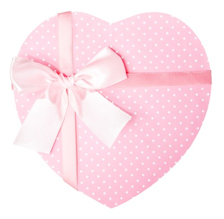 Close up of a pink, polka dot heart-shaped gift box photo