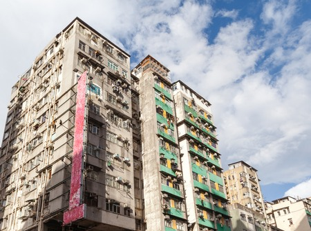 Old, crowded public apartments in Hong Kong
