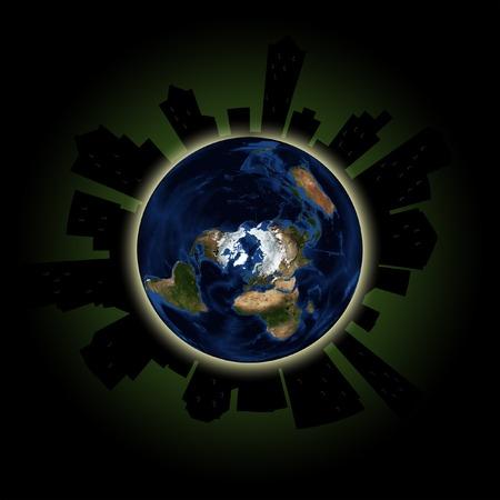 흐리게 창문 월에 이벤트를 연간 글로벌 불을 묘사하는 행성 지구에 도시의 실루엣