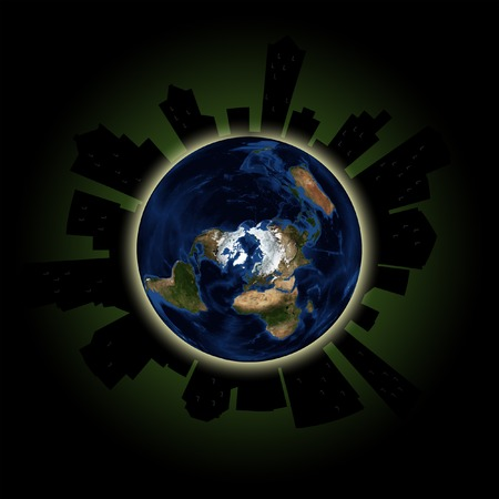 Silhouette of city on planet earth, with dimmed windows depicting annual global Lights Out event in March