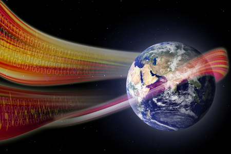 magnetic field: Concept of digital technology waves sweeping the earth  Stock Photo