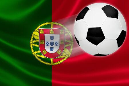 drapeau portugal: Balle saute du drapeau du Portugal, où le football est une passion nationale