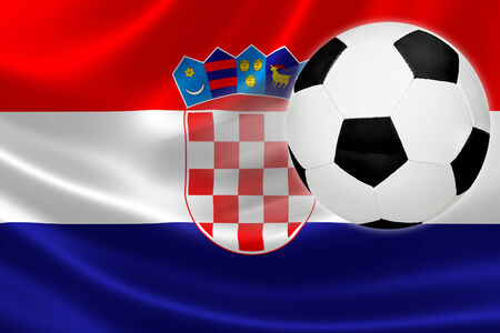 Ball leaps out of the flag of Croatia, where soccer is a national passion  photo
