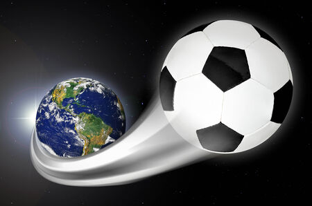 america's cup america: Concept of soccer ball streaking across the earth into space Stock Photo