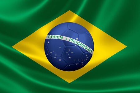 3D rendering of a satin textured Brazilian flag with a soccer ball in the middle depicting a starry sky spanned by a curved band inscribed with the national motto,  Order and Progress  photo