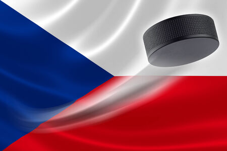 Hockey puck streaks across the flag of Czech Republic, where the country is one of the world's major ice hockey nations.