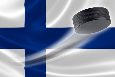 Hockey puck streaks across the flag of Finland, where the country is one of the worlds major ice hockey nations.