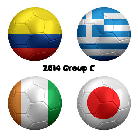 3D rendering of national flag on ball for 2014  photo