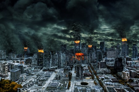 post apocalypse: Detailed destruction of fictitious city with fires, explosion, sinkholes, split ground, train derailment  Concept of war, natural disasters, judgement day, fire, nuclear accident, terrorism, or meteorite fallout  Stock Photo