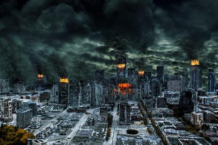 Distruzione dettagliata della città fittizia con incendi, esplosioni, doline, terra spaccata, deragliamento treno concetto di guerra, calamità naturali, il giorno del giudizio, incendio, incidente nucleare, il terrorismo, o fallout meteorite