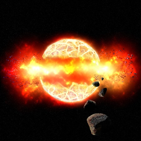 Burning planet cracks and explodes under intense heat in fiery inferno with flying debris and asteroids. photo