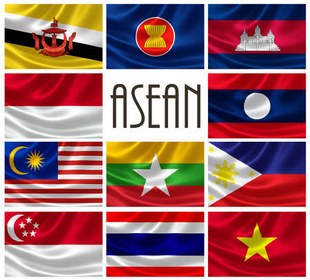 asean: 3D rendering of Association Of Southeast Asian Nations  ASEAN  flags  ASEAN is a political and economic organization comprising of Indonesia, Malaysia, Philippines, Singapore, Thailand, Brunei, Burma  Myanmar , Cambodia, Laos and Vietnam
