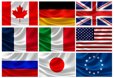 eu flag: 3D rendition of Flags of the G8 Industrialized Countries and European Union  EU is represented within the G8 but cannot host or chair summits