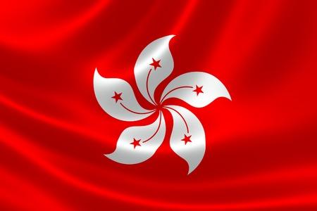 3D rendering of the Hong Kong SAR flag on silky satin