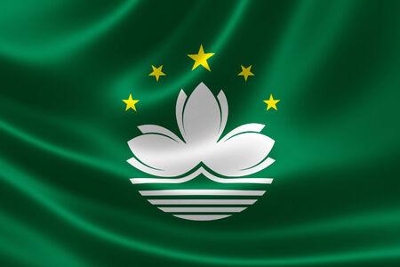 3D rendering of the Macau SAR flag on silky satin