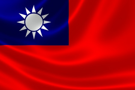 3D rendering of the Taiwanese flag on silky satin