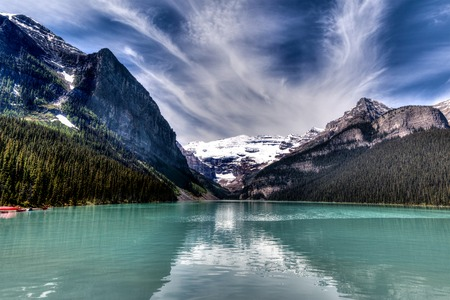 louise: Beautiful Lake Louise in Banff National Park, Canada Stock Photo