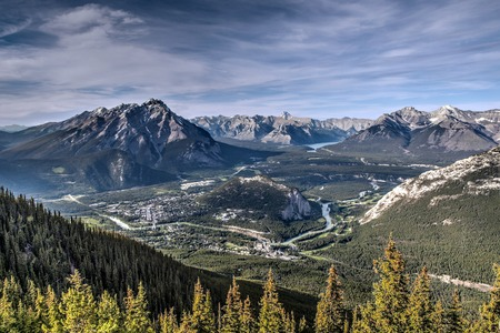 banff: Majestic view of the Rocky Mountains encompassing Banff townsite, Cascade Mountain, Tunnel Mountain, Mt. Aylmer and Mt. Inglismaldie.